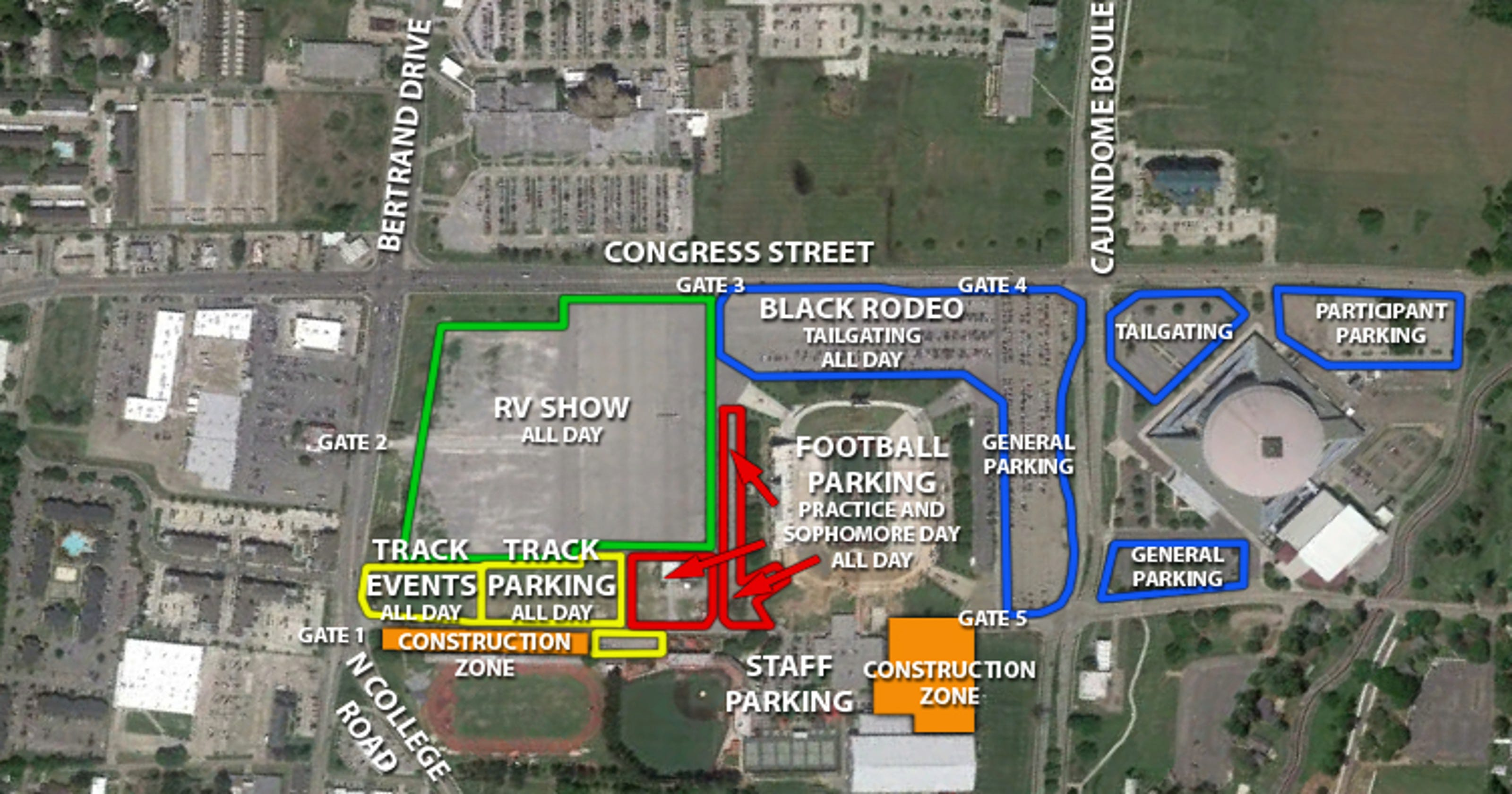 University Of Louisiana At Lafayette Campus Map.Ul Announces Parking Changes For Cajun Field Weekend Events