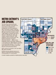 Metro Detroit's job sprawl, by ZIP code