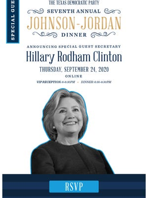 Online invitation to hear Hillary Clinton headline the Texas Democratic Party's annual Johnson-Jordan dinner.
