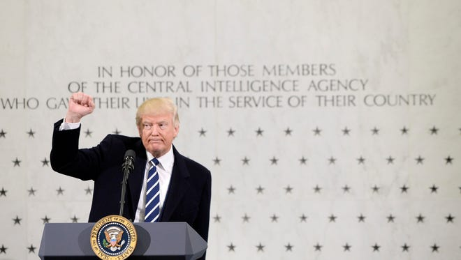 President Trump speaks at the CIA headquarters in Langley, Va., on Jan. 21, 2017.