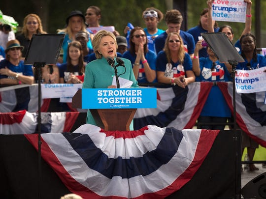 Hillary Clinton speaks at a Pembroke Pines, Fla. campaign rally on Saturday, Nov. 5, 2016. Clinton encouraged voter turnout to the crowd gathered in the rain.