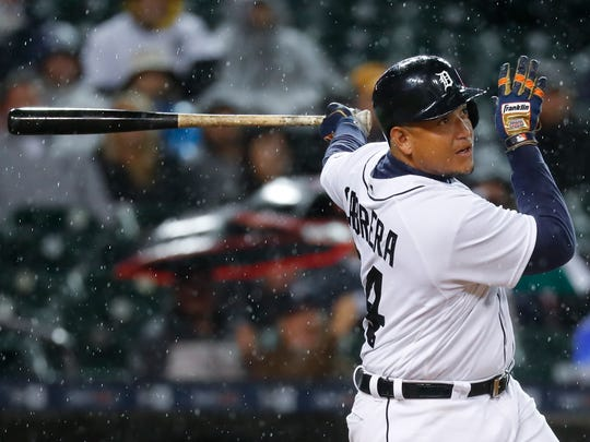 Detroit Tigers' Miguel Cabrera hits a three-run home run against the Cleveland Indians in the fifth inning of a baseball game in Detroit, Wednesday, Sept. 28, 2016.