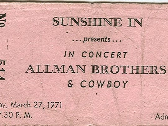 A ticket to one of the Allman Brothers concert at the