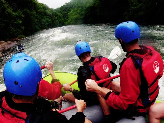 A view from the raft during a whitewater rafting tour