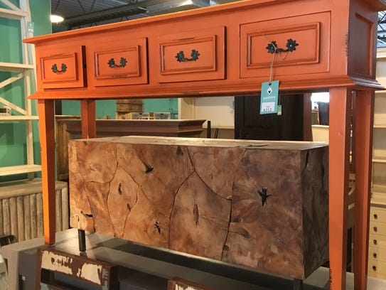 i'm contemplating this orange console table. It's $212.