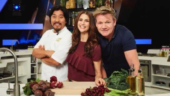 Louisville chef Edward Lee (left) pictured with host Samantha Harris and producer Gordon Ramsay.