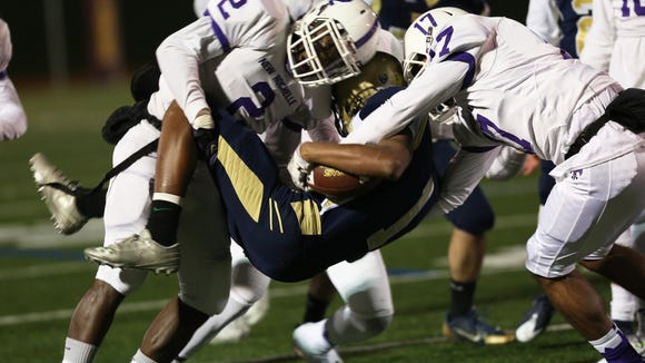 New Rochelle defeated Newburgh 21-20 in the Class AA regional final at Dietz Stadium in Kingston, N.Y.  Nov 14, 2015.