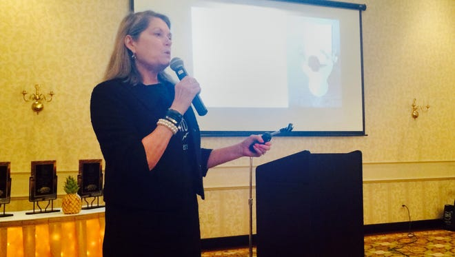 Mary Cusick, director of TourismOhio, talks about Ohio's new branding strategy during the Ross-Chillicothe Convention and Visitors Bureau's third annual tourism luncheon Monday at the Christopher Conference Center.