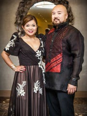 Hernalin Analista and Norman Analista, FCG 1st vice president wore a mestiza and barong designed by Philippine designer Edgar San Diego.