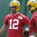 Brett Hundley (right) sticks close to Aaron Rodgers to learn as much as he can from the two-time MVP.