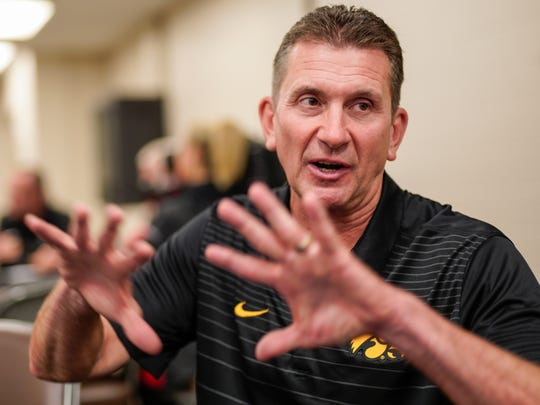 Iowa head coach Rick Heller gestures in Omaha, Neb., Tuesday, May 22, 2018, during a media availability ahead of the Big Ten tournament.