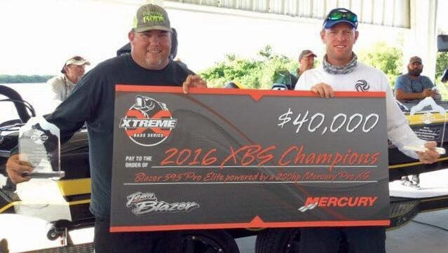 The bass tournament team of Jim Folks of Melbourne, left, and Jeremy Smith of Plant City won the $40,000 first place prize in the Nov. 5-6 Xtreme Bass Series championship on Lake Okeechobee. They won the same championship, and the same prize, in 2015.