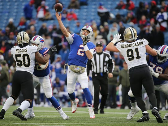Bills rookie quarterback Nathan Peterman looks downfield