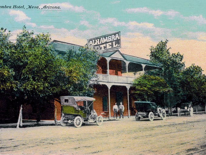 A postcard shows the historic Alhambra Hotel in its