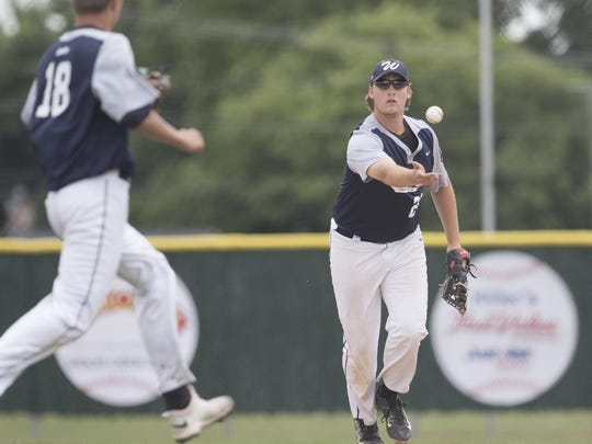 Wausau's Benjamin Schubring tosses the ball to pitcher Logan Grunenwald to get the out at first base during the American Legion AAA State Baseball Tournament against Beloit Friday at Jack Hackman Field
