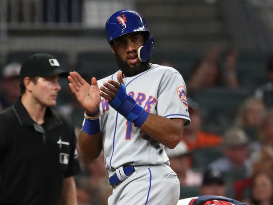 New York Mets shortstop Amed Rosario (1) celebrates
