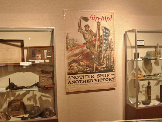Artifacts that are part of the Remembering The Great War exhibit at the Johnson-Humrickhouse Museum.