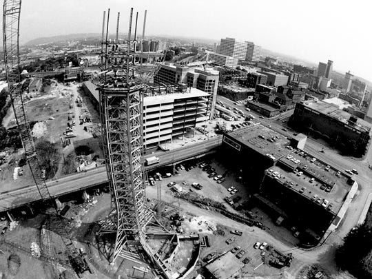 The Sunsphere under construction in 1981. Michael Patrick shot this photo while suspended from a crane 260 feet above ground. Photo by Michael Patrick/News Sentinel
