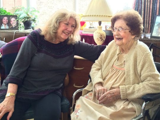 Carol Mayo Jenkins, left, talks with her mother, Varina