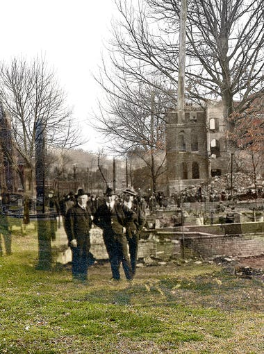 In this merged then-and-now image, Warner School, at the southwest corner of Seventh and Russell streets, had a tower that had to be dynamited because of the danger of it falling on passers-by after the East Nashville fire on March 22, 1916. Historic image courtesy of Nashville Public Library, Special Collections