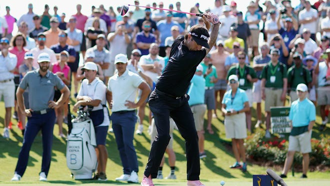 Bubba Watson hits his driver from the 18th tee during the first round of THE PLAYERS Championship on the Stadium Course at TPC Sawgrass on May 10, 2018 in Ponte Vedra Beach, Florida. (Photo by Richard Heathcote/Getty Images)