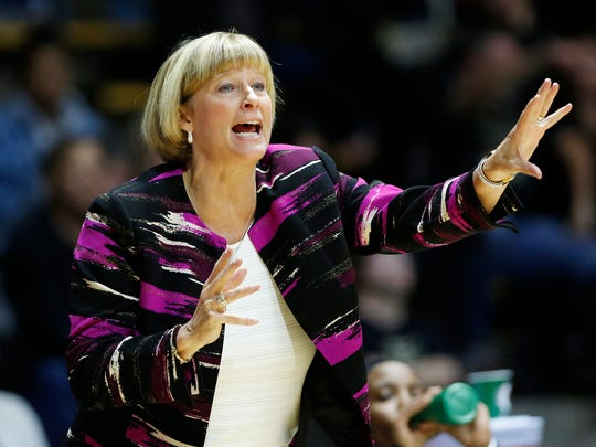 Head coach Sharon Versyp calls a play as the Boilermakers face Michigan State Wednesday, January 4, 2017, at Mackey Arena. Purdue defeated Michigan State 66-54.