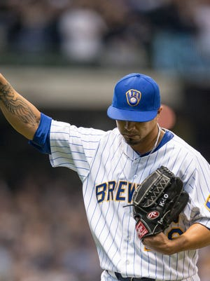 Brewers starting pitcher Kyle Lohse struck out nine in 8 2/3 innings.
