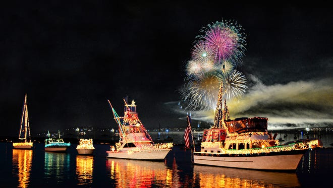 More than 35 boats are expected to participate in the inaugural Celebrate Stars & Stripes Boat Parade at 8 p.m. on July 3 on Raritan Bay from the Outerbridge Crossing in Perth Amboy to Waterfront Park in South Amboy. Pictured is a boat parade in Florida.