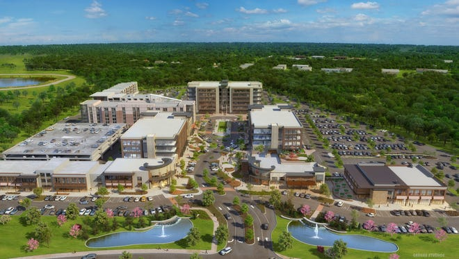 A rendering shows the Fountains at Gateway completed complex.