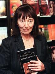 British novelist Beryl Bainbridge stops in a London