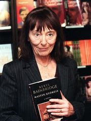 British novelist Beryl Bainbridge stops in a London bookshop in this 1988 photo.