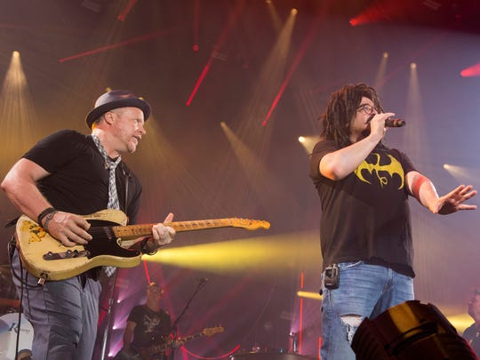 Counting Crows' Adam Duritz (right) will hit Klipsch Music Center on Sept. 24 as part of the Matchbox Twenty & Counting Crows: A Brief History Of Everything Tour.