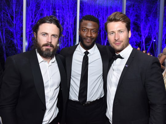 Actors Casey Affleck, Aldis Hodge and Glen Powell attend the 28th Annual Palm Springs International Film Festival at Parker Palm Springs on January 2, 2017 in Palm Springs, California.