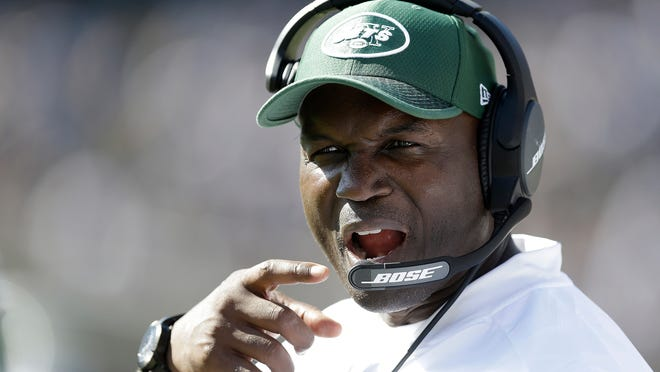 New York Jets head coach Todd Bowles gestures on the sideline during the second half of an NFL football game against the Oakland Raiders in Oakland, Calif., Sunday, Sept. 17, 2017. (AP Photo/Ben Margot)