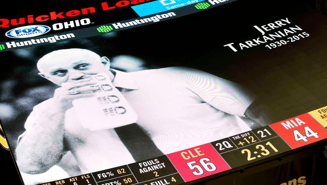 The scoreboard tribute to Jerry Tarkanian during a timeout at Quicken Loans Arena on Wednesday.