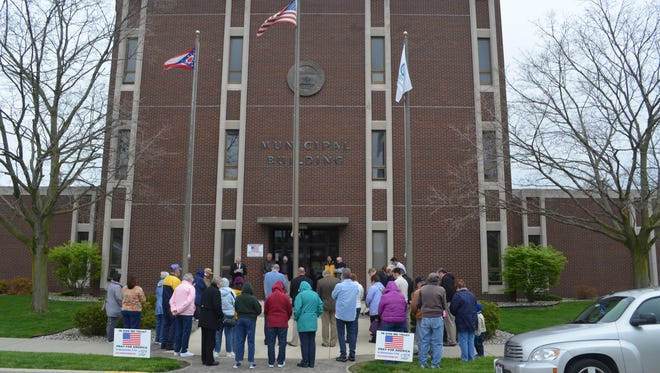 About 40 people attended the National Day of Prayer observance held in front of Fremont Municipal Building in 2016.