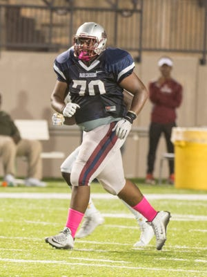 Park Crossing offensive lineman Marcus Jenkins (#70) as Park Crossing takes on Carver on Friday, Oct. 9, 2015, at Cramton Bowl in Montgomery.