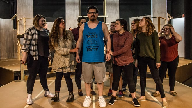 "Actors, shown not in costume, rehearse for Pentacle Theatre's ""Jesus Christ, Superstar,"" which will run April 14 through May 6."