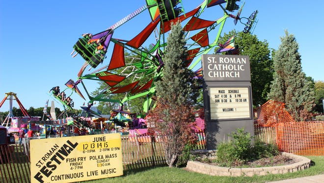 """Rides and games are a big part of St. Roman Catholic Church's summer festival, as shown in this scene from the new documentary """"Tilt-a-Whirls, Cowbells and Beer.""""."""