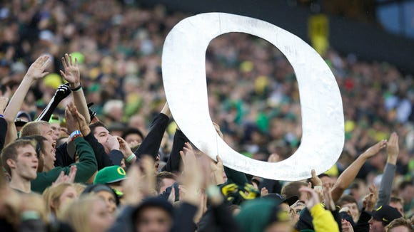 Nov 1, 2014; Eugene, OR, USA; Oregon Ducks fans celebrate against the Stanford Cardinal at Autzen Stadium. Mandatory Credit: Scott Olmos-USA TODAY Sports
