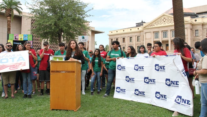 Dozens of advocates for multiple organization gathered outside the Arizona state Capitol on July 14, 2018, with the goal of registering 200,000 new voters.