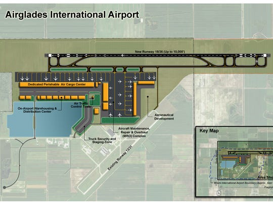 An image of the proposed expansion project at Airglades Airport.