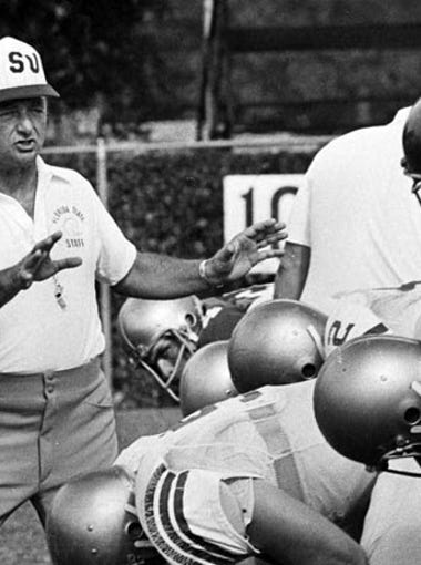 Florida State coach Bobby Bowden works with the Seminoles offensive line during his early years in Tallahassee.