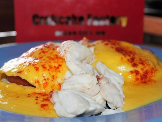 The jumbo lump crab meat eggs benedict at the Crabcake Factory are a ...