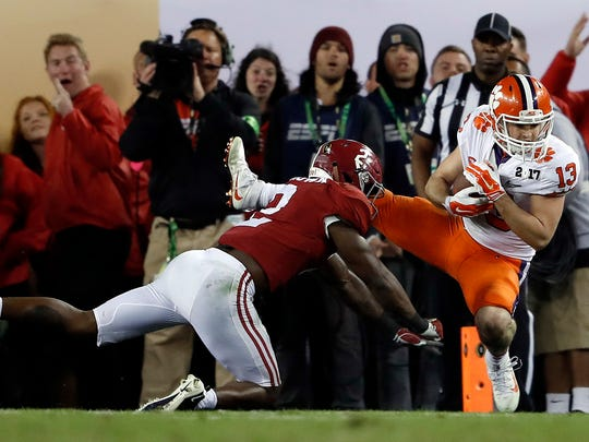 Clemson's Hunter Renfrow, right, catches a touchdown