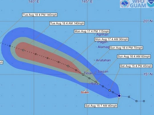 The latest National Weather Service tracking map for Tropical Storm Goni shows the storm is expected to pass through the Marianas Sunday, between Guam and Saipan.