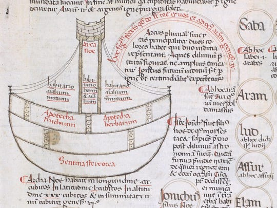 An enlarged diagram of the ark associated with the biblical story of Noah in a late 15th-century manuscript copy documenting the history of the world. The manuscript copy spans from the creation to the election of Pope Sixtus IV.