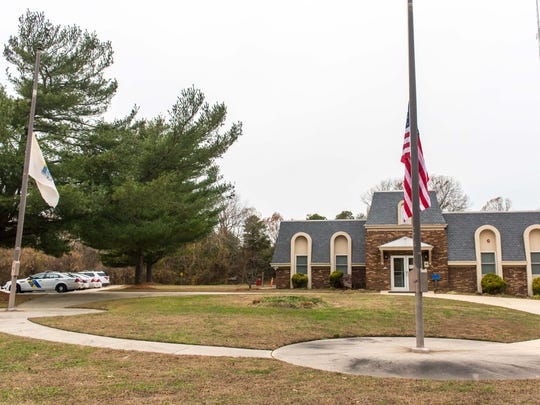 The American flag outside of the New Jersey State Police barracks in Port Norris stands at half mast on Tuesday, December 9 for Trooper Frankie Williams who was involved in a fatal accident Monday evening .
