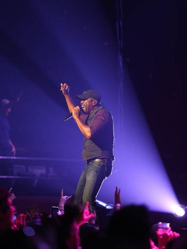 Singer Darius Rucker of Hootie and the Blowfish fame played a dynamic show inside  the Civic Center on Friday night, April 25, 2014.  Rucker's lively show included a spectacular light show and a couple references to the FSU National Championship.