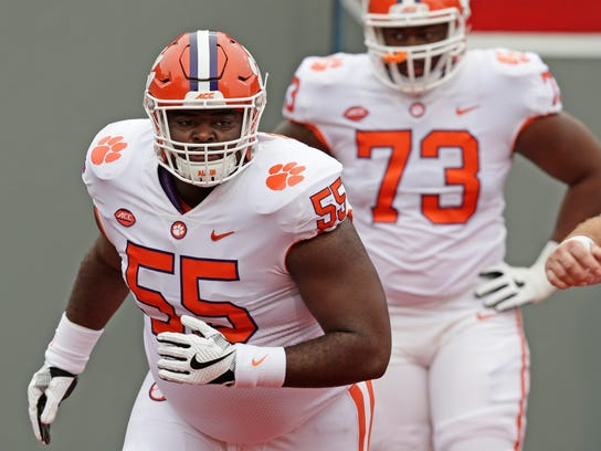 FILE - In this Nov. 4, 2017, file photo, Clemson's Tyrone Crowder (55) warms up prior to an NCAA college football game against North Carolina State, in Raleigh, N.C. Crowder was selected to the AP All-Conference ACC team announced Tuesday, Dec. 5, 2017. (AP Photo/Gerry Broome, File)